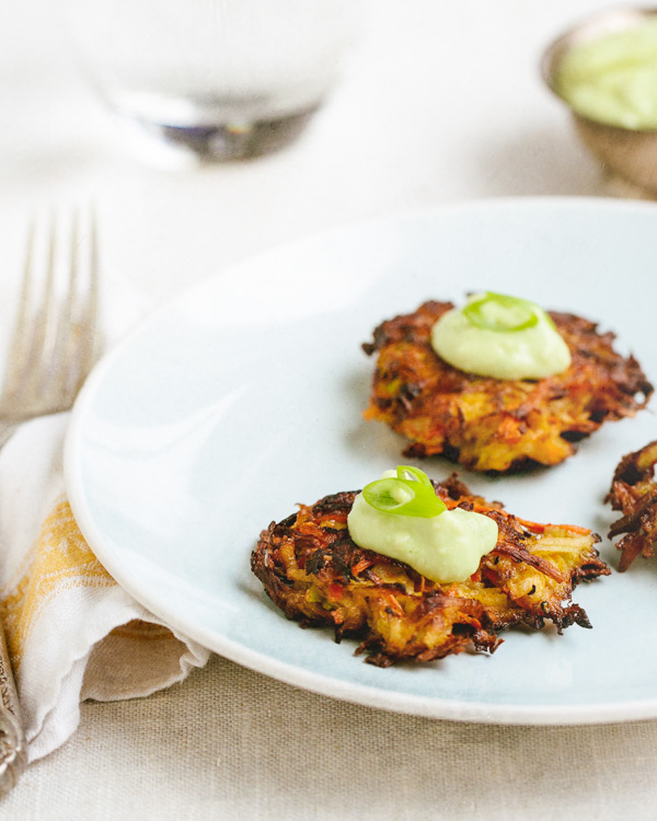 KOHLRABI CARROT FRITTERS WITH AVOCADO CREAM SAUCE. RECIPE AND PHOTO COURTESY OF   A COUPLE COOKS.