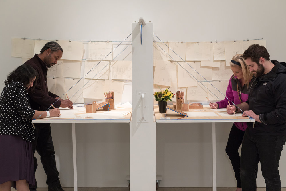 Plywood, drywall, stationary, interactive performance