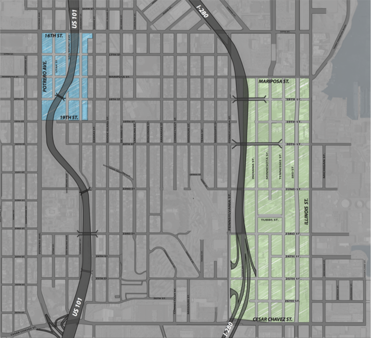 Zone I in green and Zone II in blue.