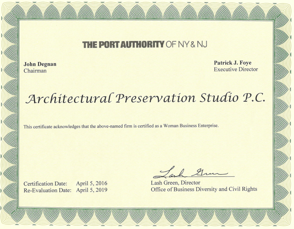 WBE for The Port Authority of NY & NJ — Architectural Preservation ...