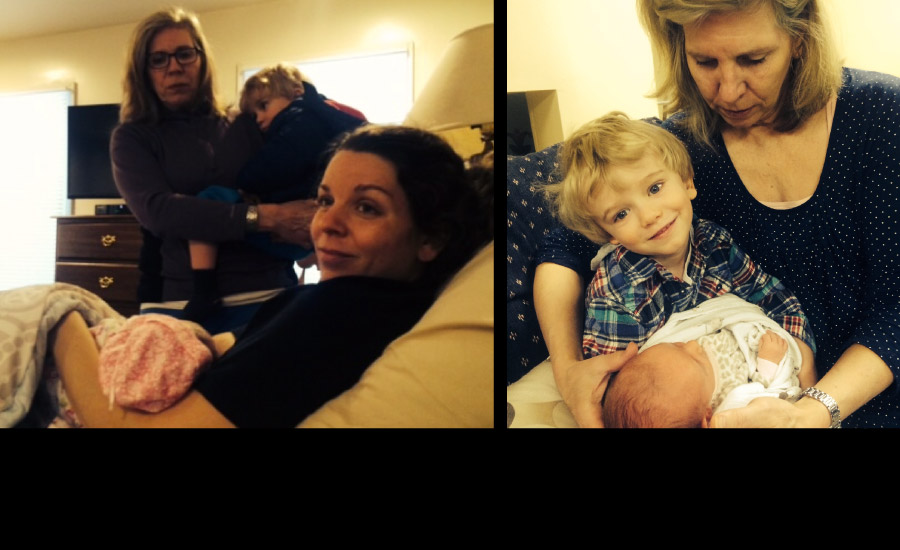 2015 Cathy attends the homebirth of her fourth grandchild!