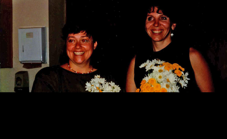 1991 As Childbirth Educators and Doulas Susan and Cathy receive flowers in recognition for presenting a symposium on birth in the upright position at North Central Bronx Hospital