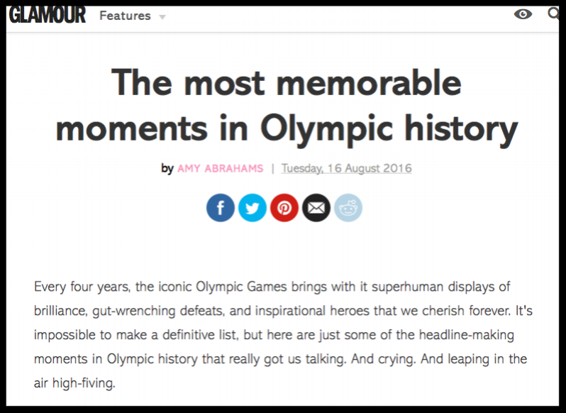The greatest Olympics moments - click image to read on GLAMOUR.com