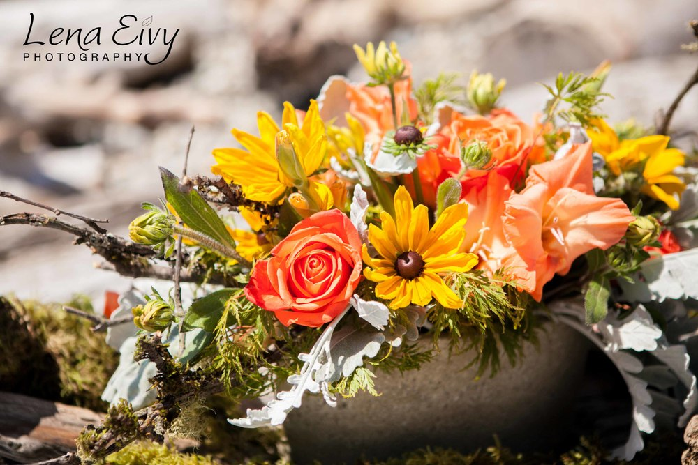 1. Orange and Yellow Summer Centerpiece