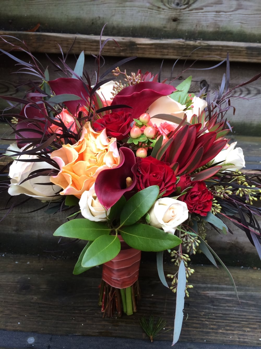 54. Striking Burgundy Ombre Bridal Bouquet