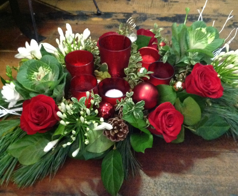 70. Holiday Centerpiece with Red Votives