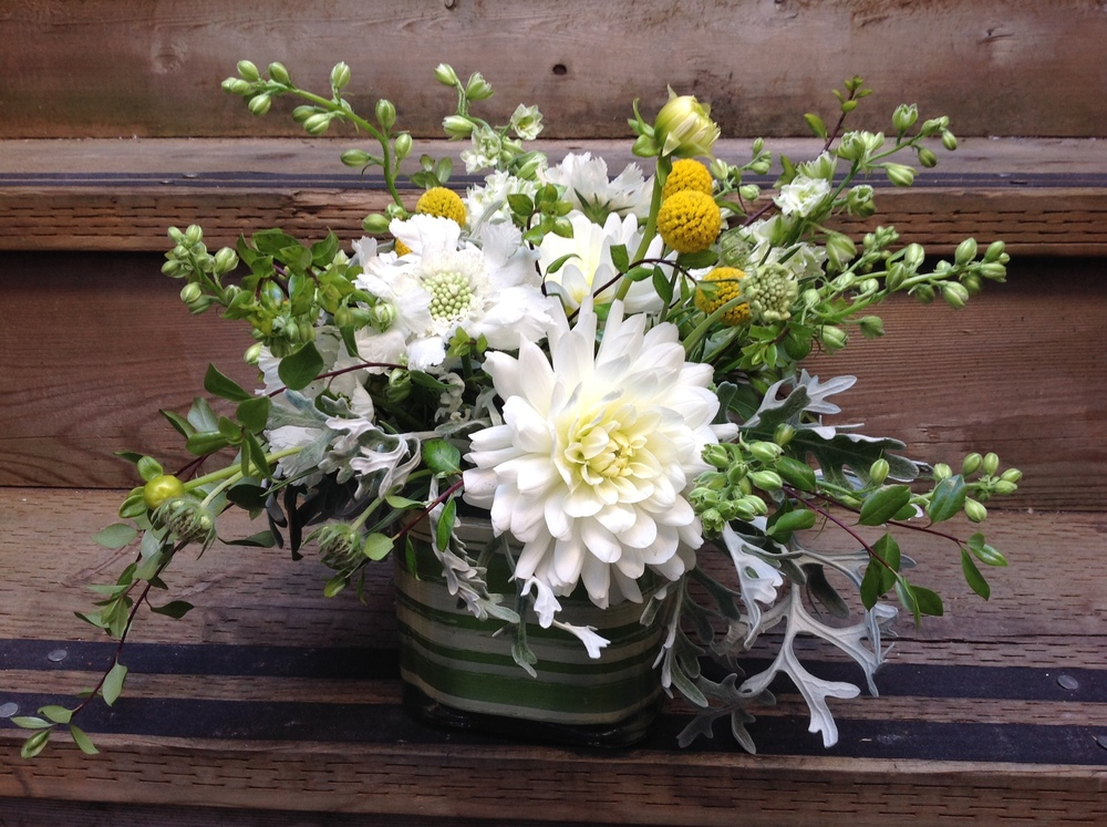2. Low and Lush White, Grey and pop of Yellow Bouquet