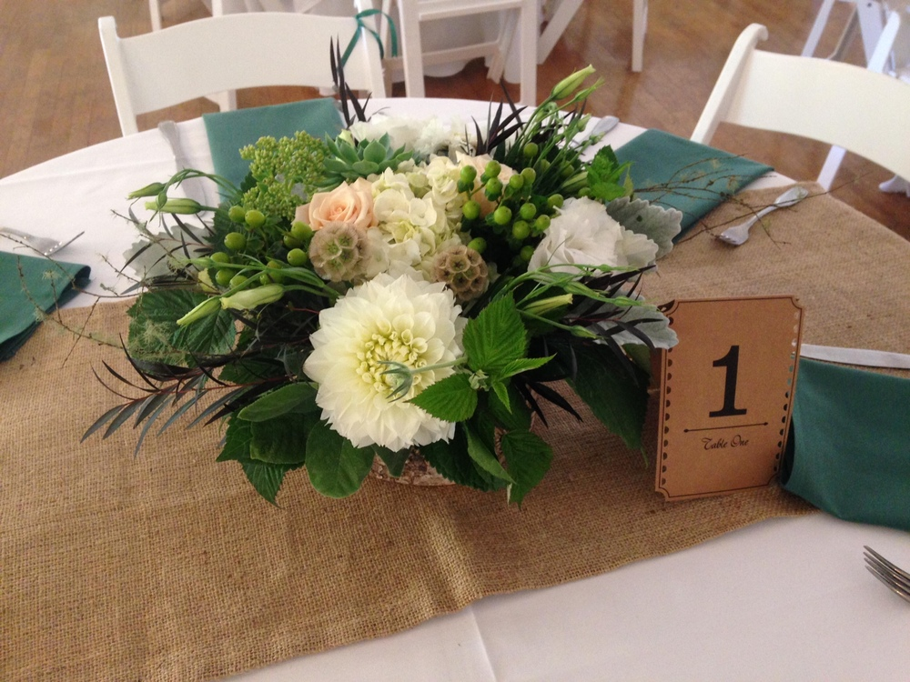 10. Pacific Northwest White and Green Wedding Centerpiece