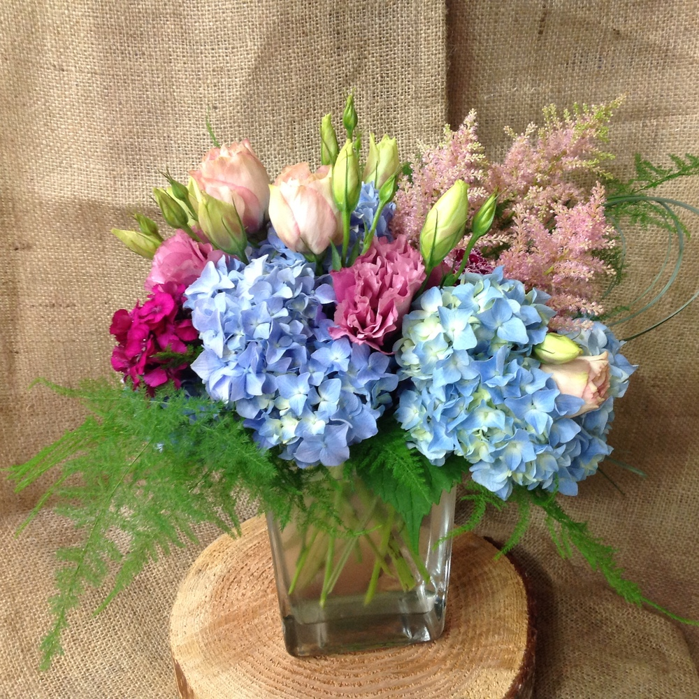 20. Baby Pink and Blue Seasonal Bouquet
