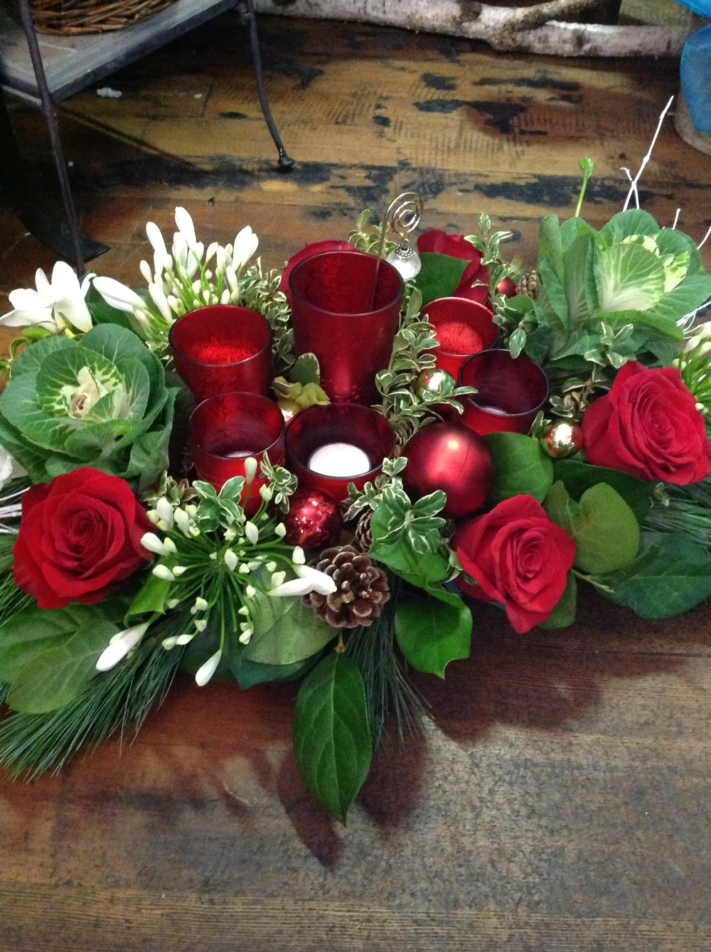 67. Low Holiday Centerpiece with Votive Candles