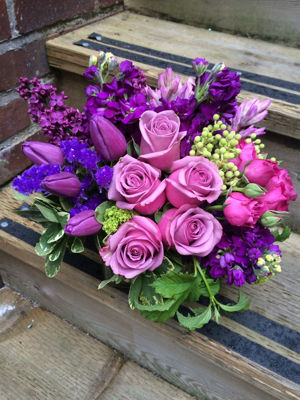 22. Compact Lush Purple with Tulip Bouquet