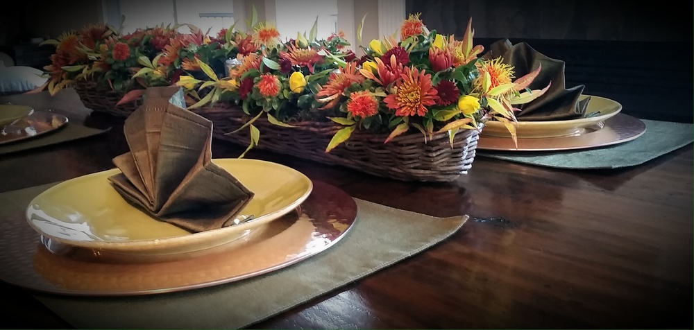 26. Long Fall Centerpiece in Wicker Basket