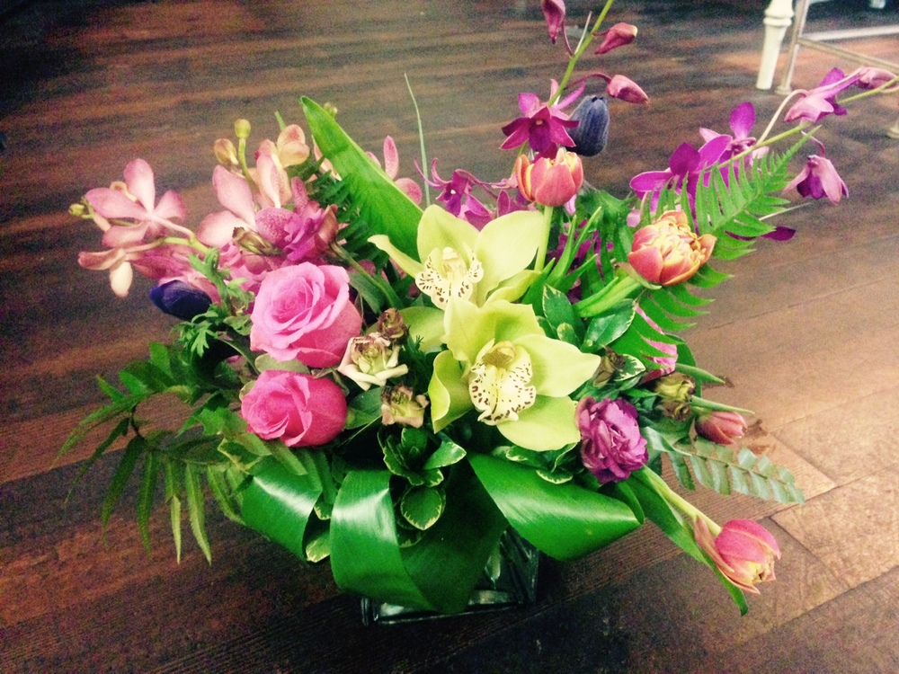 43. Feminine Orchid Centerpiece in Pink and Green