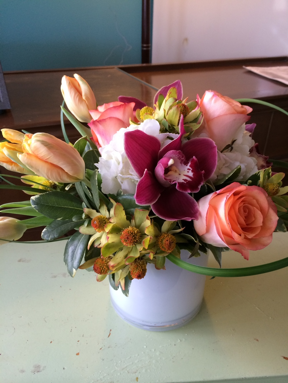 34. Coral, Peach, Natural with Cymbidium Orchid Bouquet