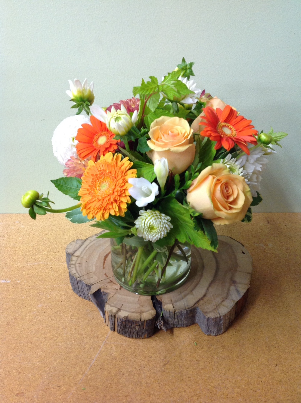 36. Orange and Peach Gerbera and Rose Petite Centerpiece
