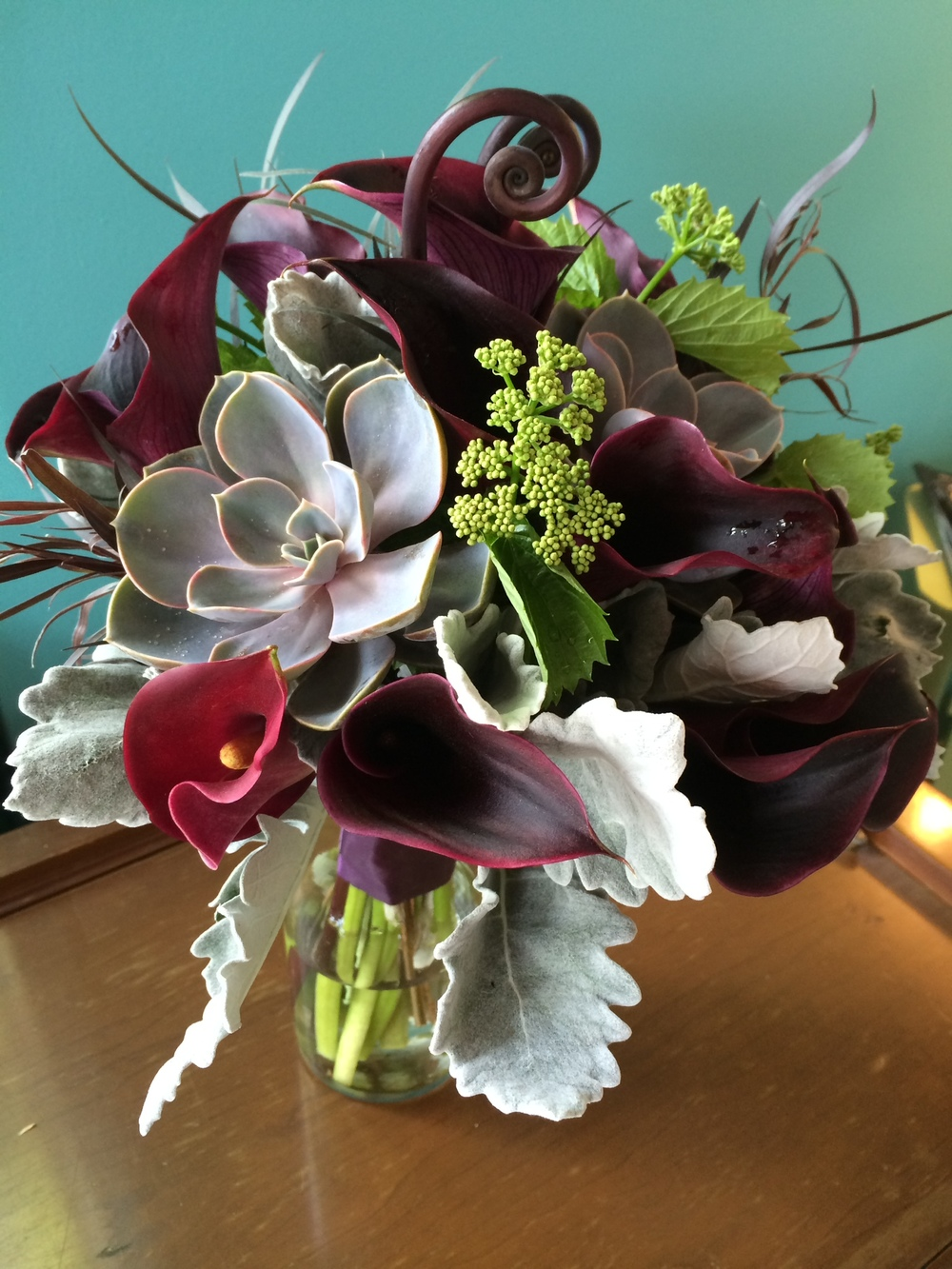 37. Burgundy and Succulent Grey Interest Bouquet
