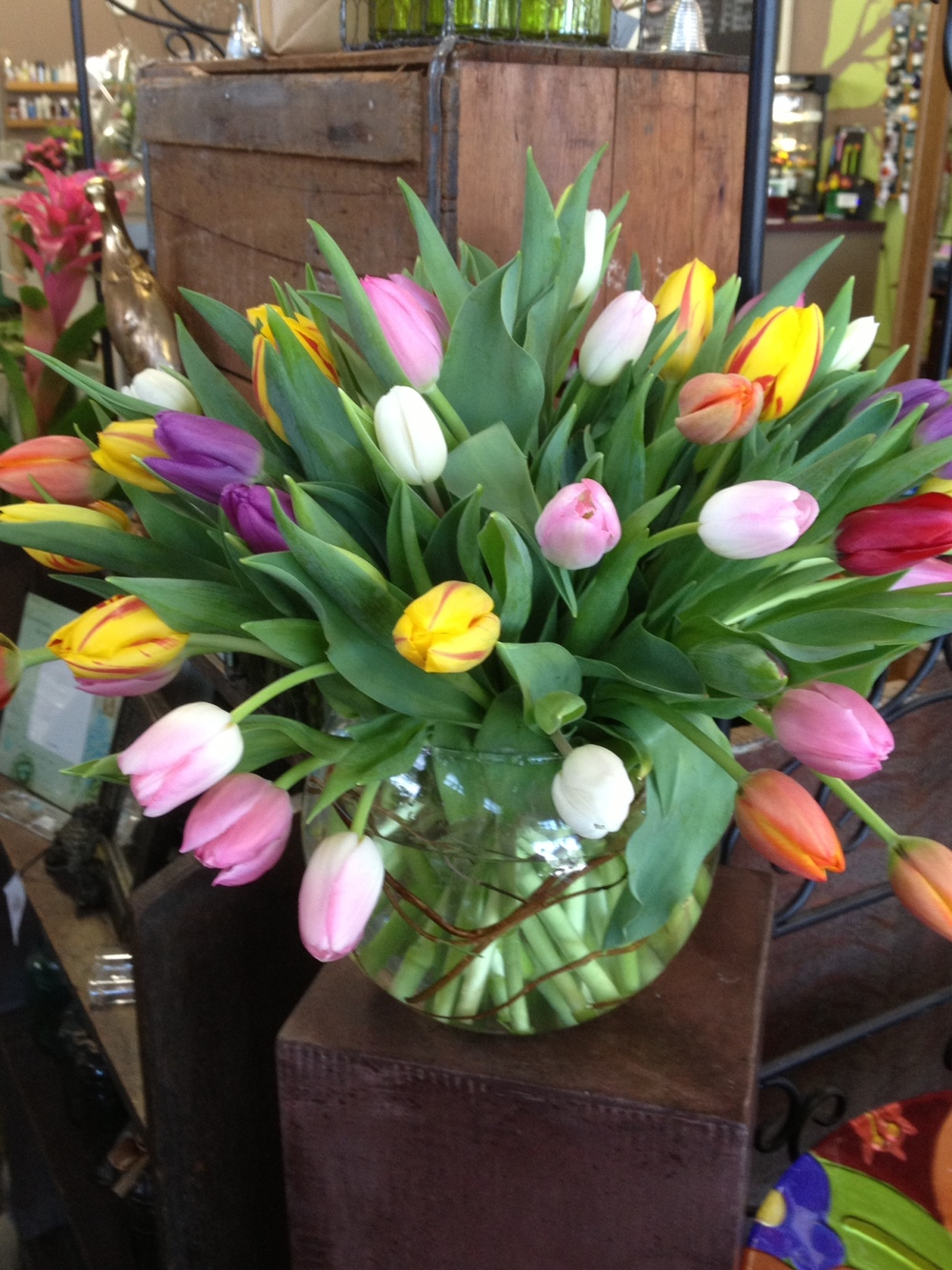47. Multicolored Tulip Bubble Bowl Centerpiece