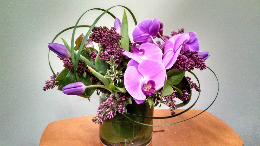 48. Modern Spring Orchid Centerpiece in Purples