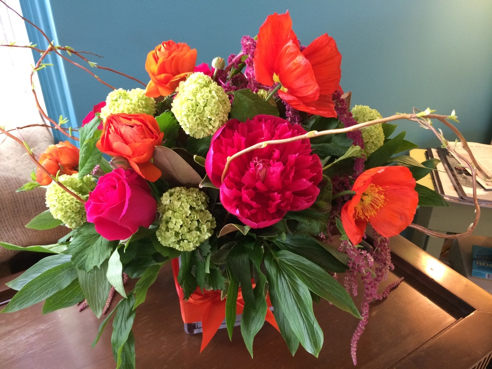 50. Vibrant Peony Poppy and Viburnum Arrangement