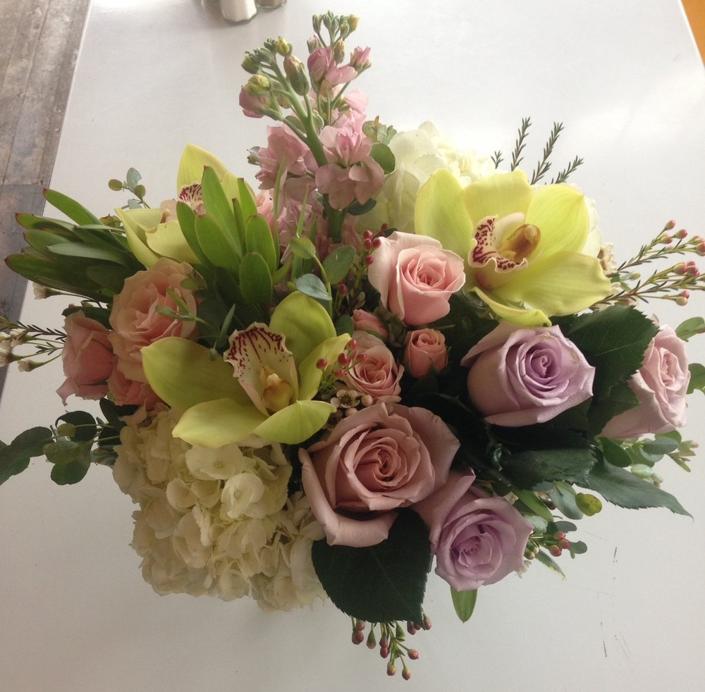 38. Pale Green Pink and Lavender Summer Bouquet with Premium Blooms