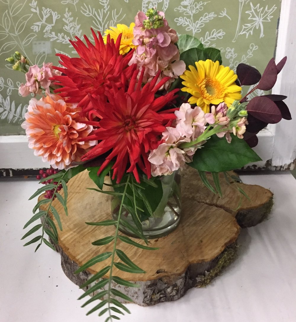 69. Coral and Peach Summer Vase Arrangement