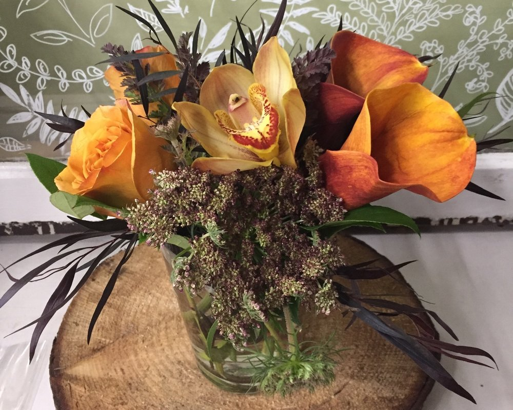 70. Bronze and Burgundy with Calla Lilies and Orchids
