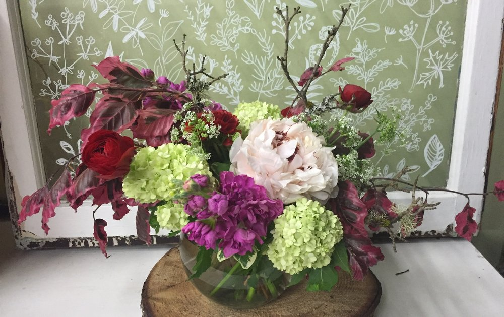 75. Interesting and Unusual with Peonies and Viburnum
