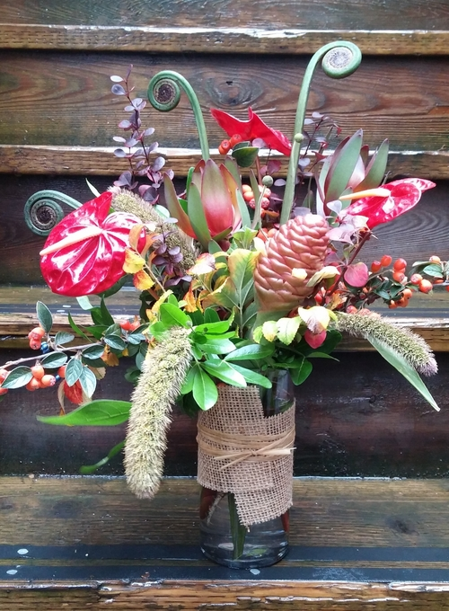 5. Whimsical Fall Design with Tropicals
