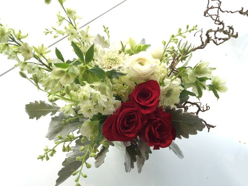 Winter flower lab winter bouquet with red rose accent mightylinksfo
