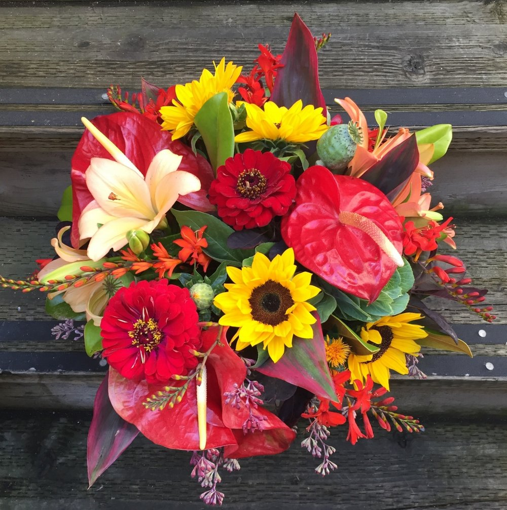 2. Hot and Vibrant Fall Arrangement