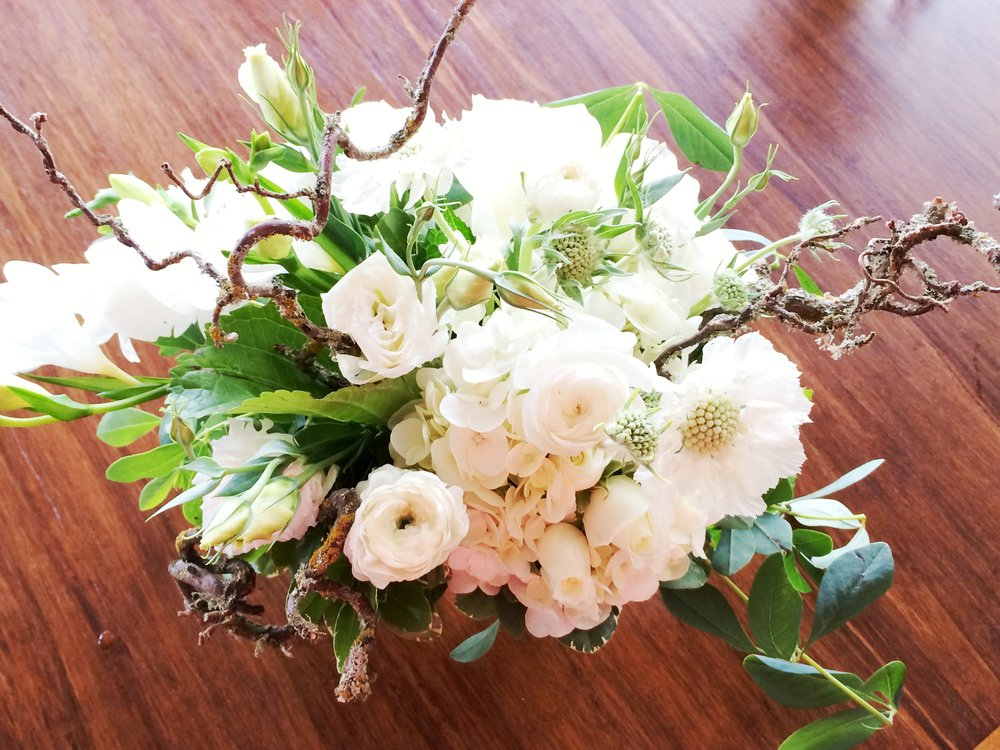 5. Natural All White Holiday Arrangement