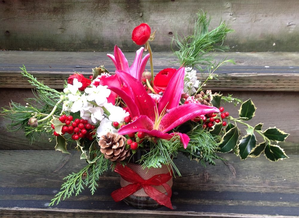 4. Bright Holiday Arrangement with Pink