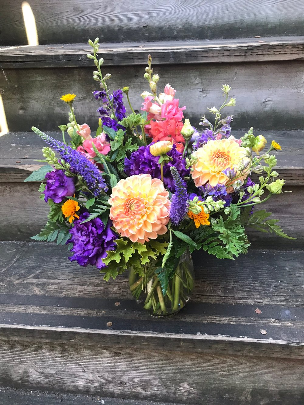 3. Purple and Peach summer bouquet