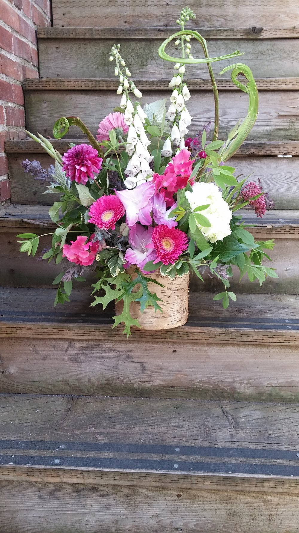 15.  Bright fuchsia toned local summer bouquet