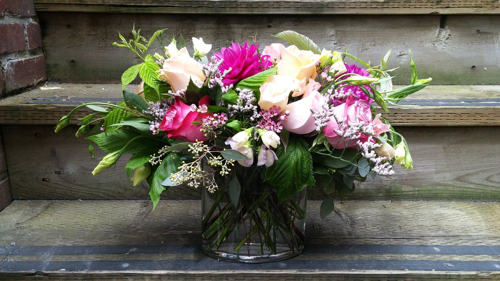 18.  Fuchsia and white early summer bouquet with anemones