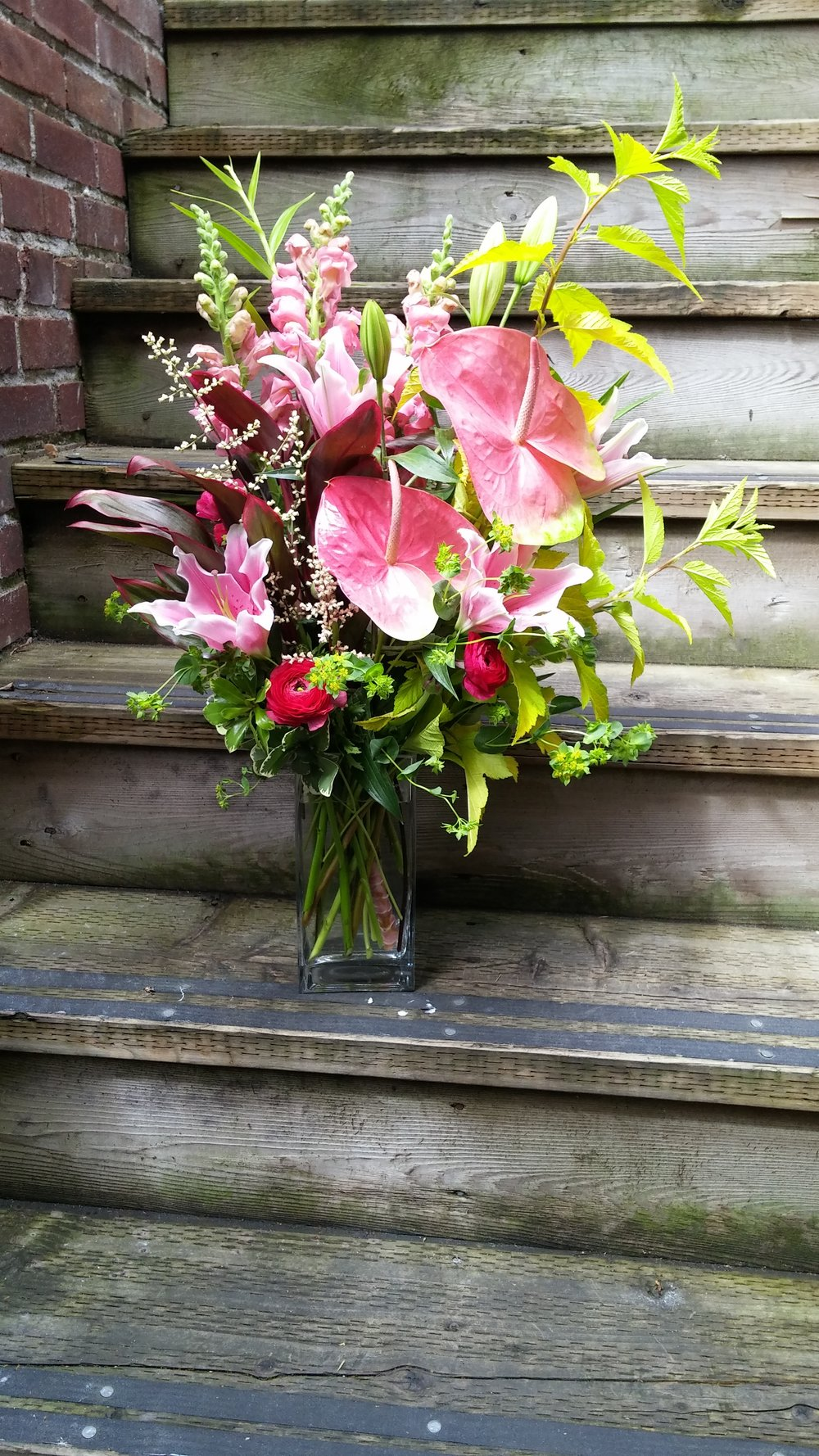 19.  Tall and gardeny summer bouquet in warm pinks