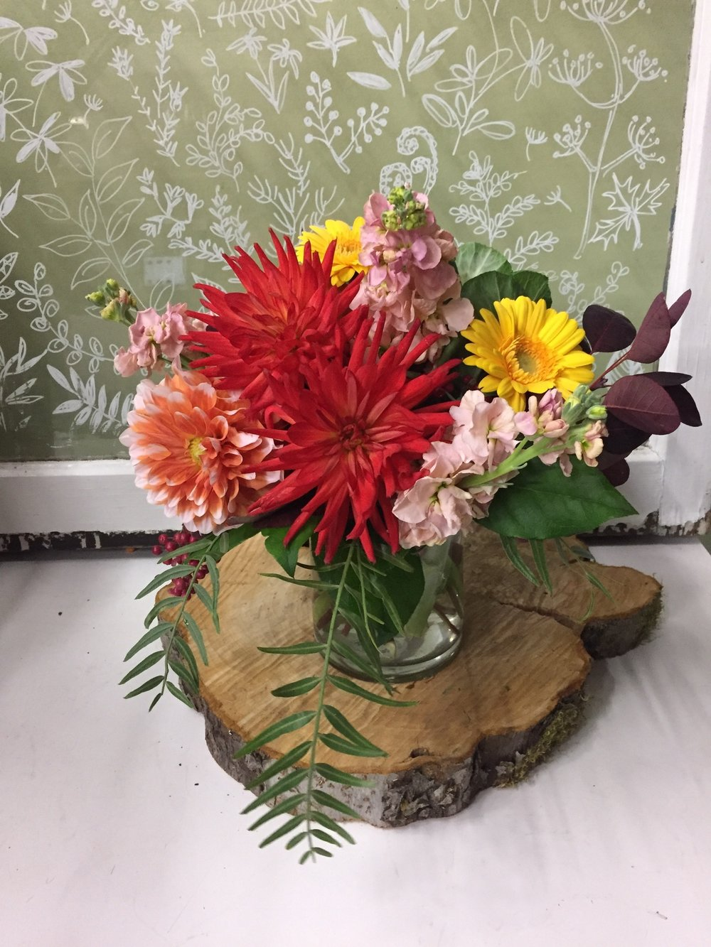 1. Summer brights with dahlias