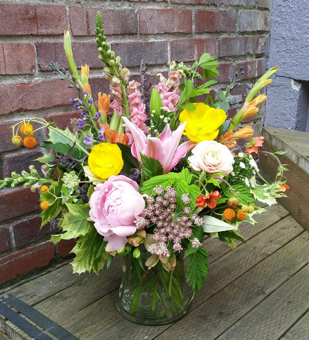 12.  Cheery yellow and pink summer bouquet