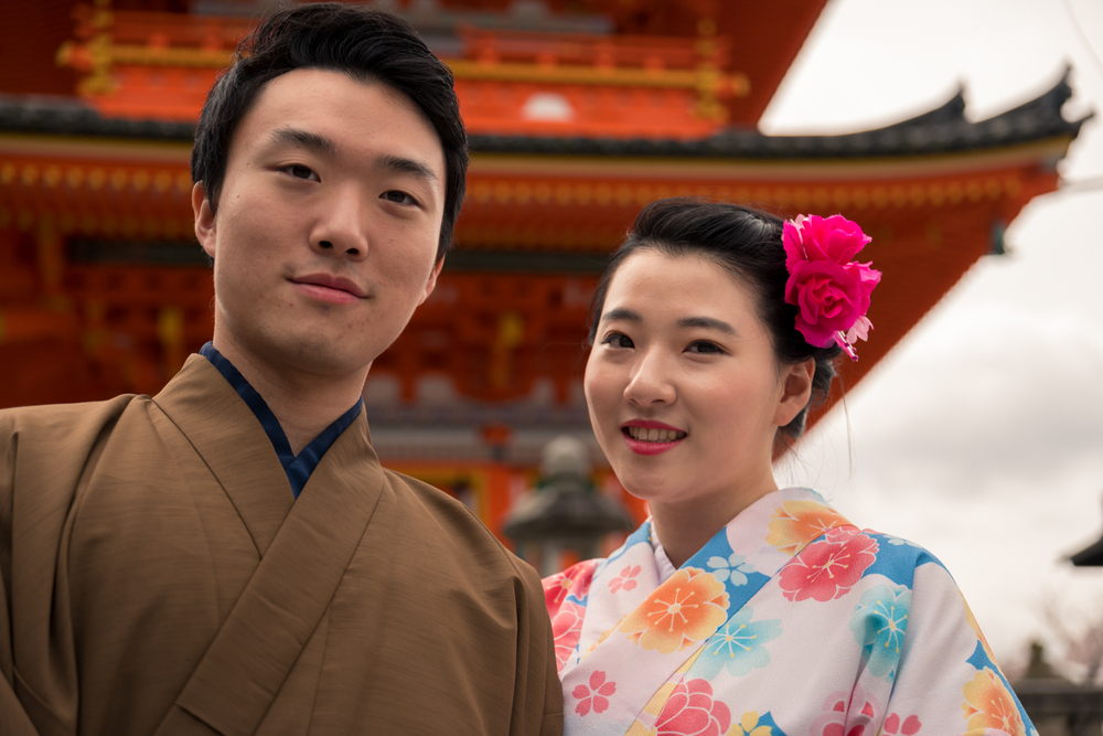 Couple from South Korea at Kyomizudera Temple, Kyoto.