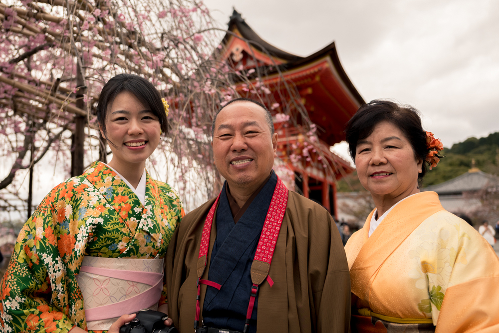 Family from Singapore at Kyomizudera Temple, Kyoto.
