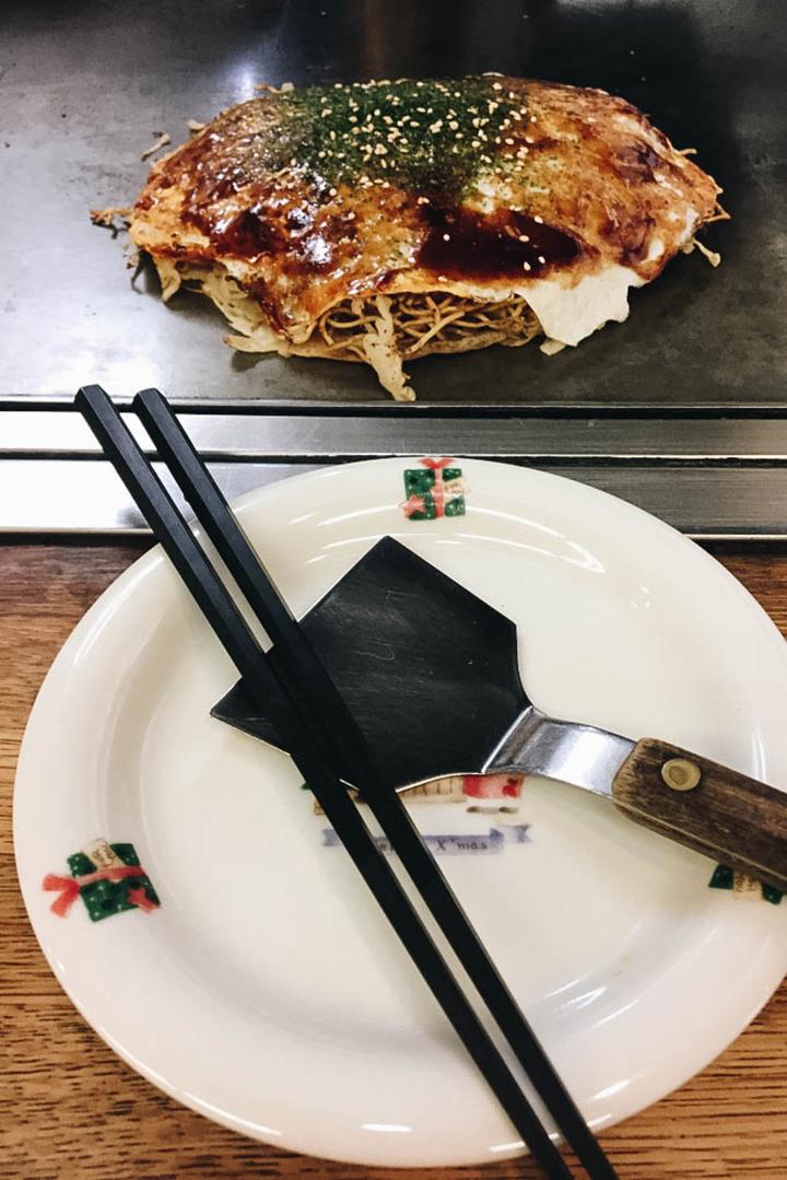 Okonomiyaki at Okonomi-mura