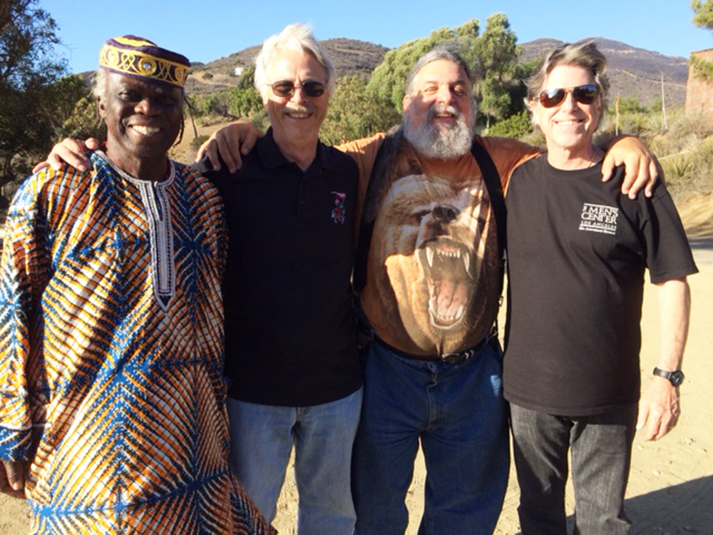 "MEN ON THE MOUNTAIN:  (left to right) Ayo Adeyemi, Steve Branker, David ""StrongBear"" Myers and Dr. Stephen Johnson"