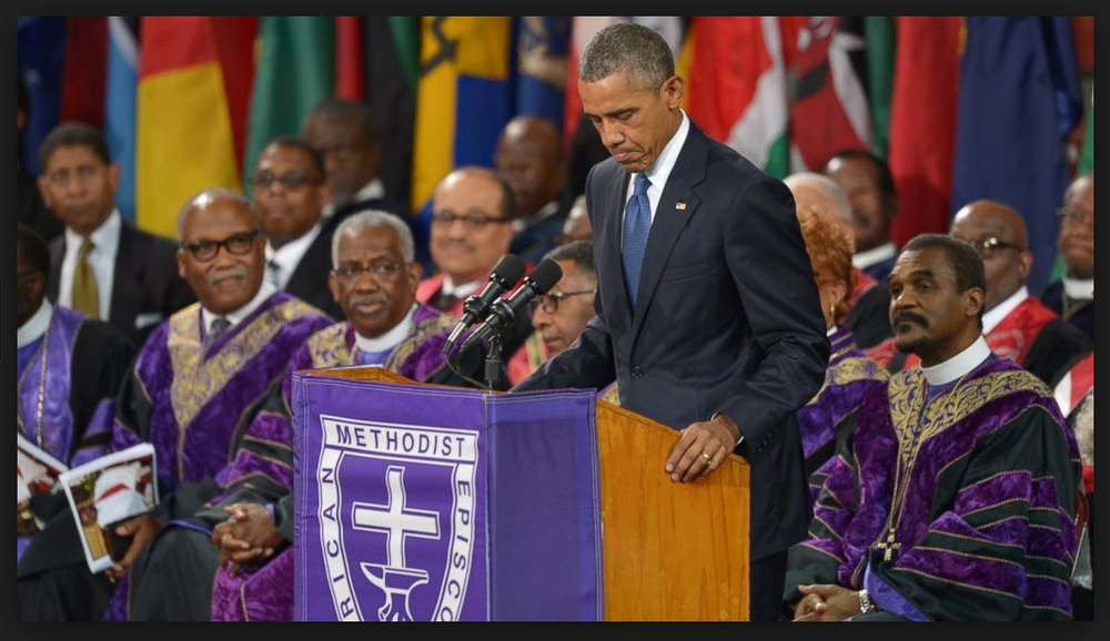 "President Obama sings ""Amazing Grace"" at the funeral of South Carolina State Senator Clementa Pinckney"