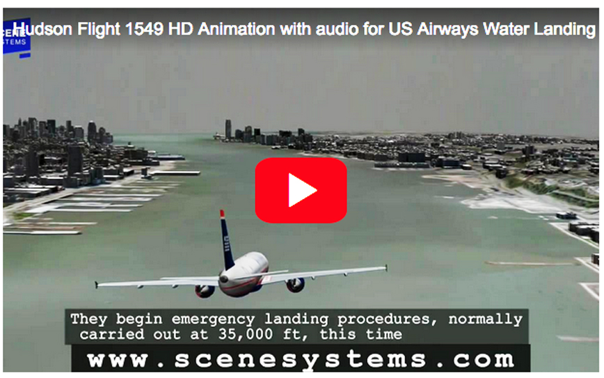 Click here for amazing HD animation of US Airways' emergency landing in the Hudson River including actual FAA control room communication with pilot Sully Sullenberger.