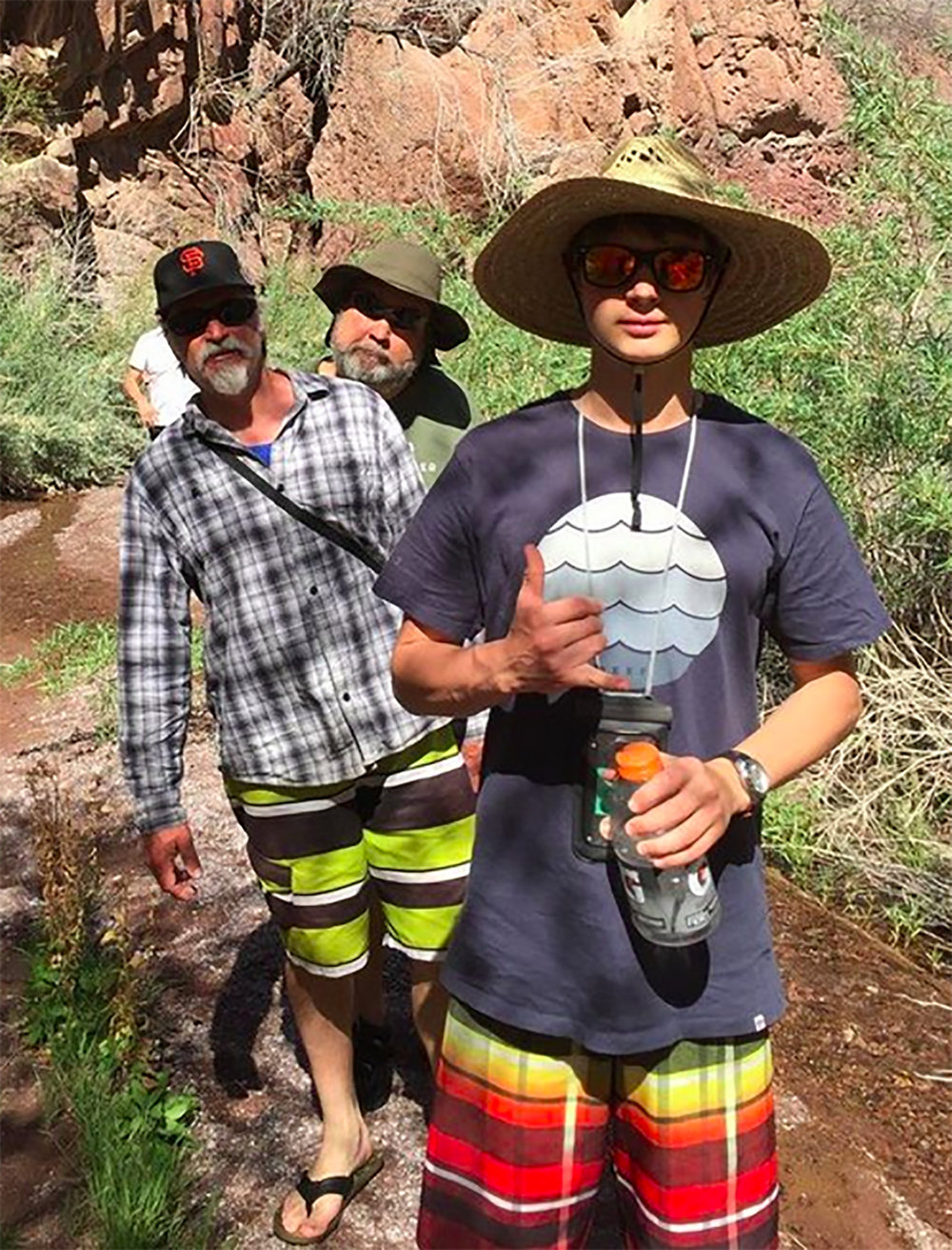 MCLA Colorado River Retreat co-leader  Scott Ewing  with  Adam Zawadzki  and his son  Sky