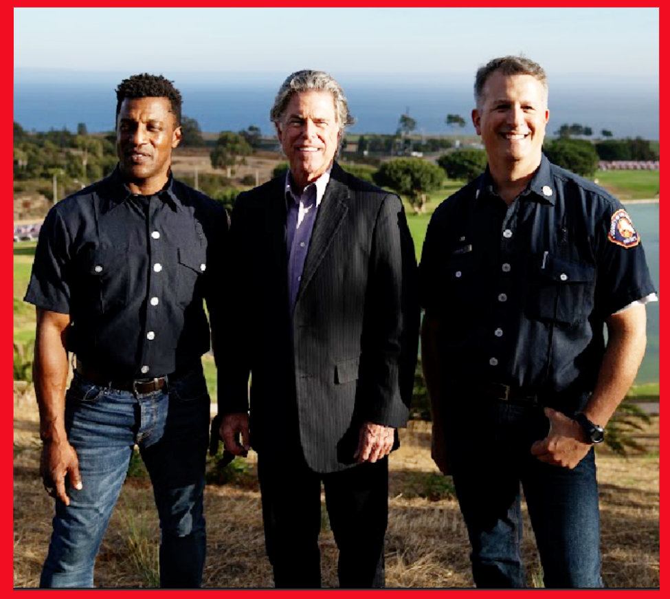 MCLA Executive Director Dr. Stephen Johnson (center) with LA County Fire Captains and Firefighters Down co-founders Mike Henry (left) and Rick Brandelli (right  ) . . . (Photo courtesy Alex Martinez)
