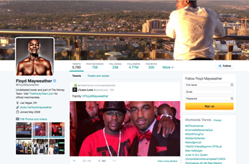 Twitter changes example @FloydMayweather