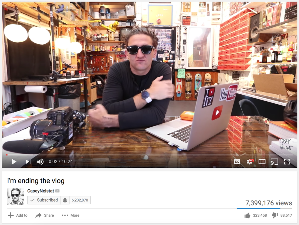 A screen shot of one of Casey Neistat's videos on the YouTube platform