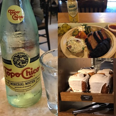 Topo Chico & Cinnamon Rolls at 1886 Cafe & Bakery at The Driskill Hotel - Barbecue from Stiles Switch BBQ