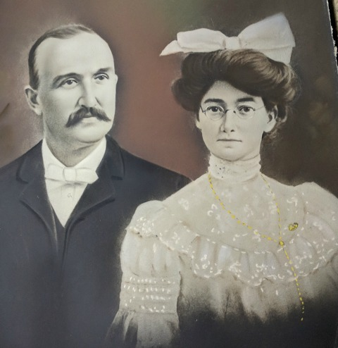 Calvin 'Cal' and Christine Gilman's wedding portrait. March, 1903